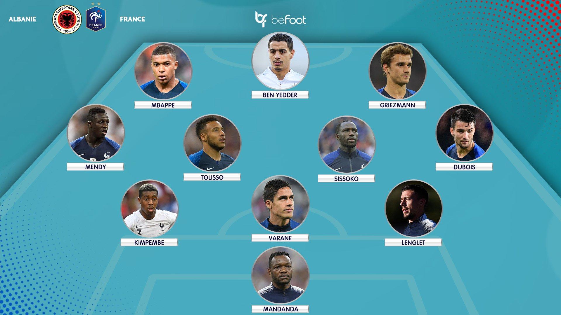 Le XI probable de l'équipe de France contre l'Albanie